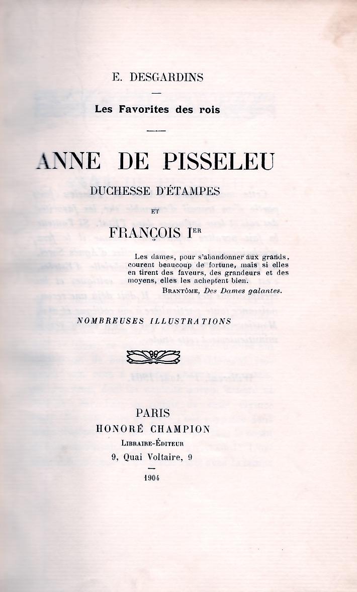 Anne de Pisseleu duchesse d'Etampes et François premier.
