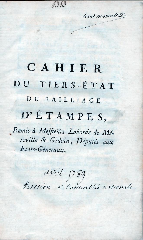 Les cahiers du tiers état du bailliage d'Etampes