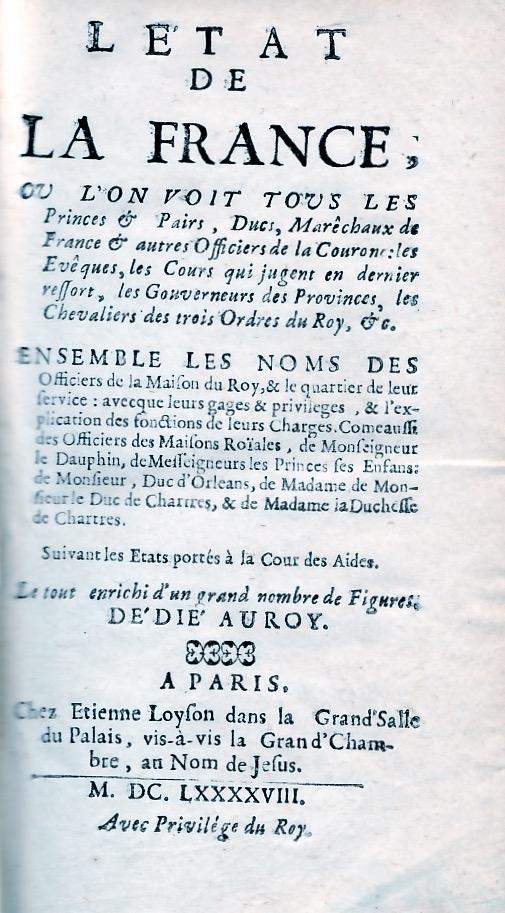L'Etat de la France ( 3 tomes )