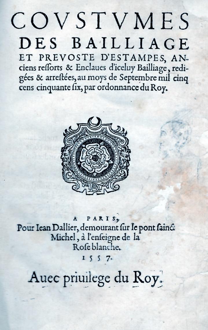 Coutumes des baillages et prévosté d'Etampes.
